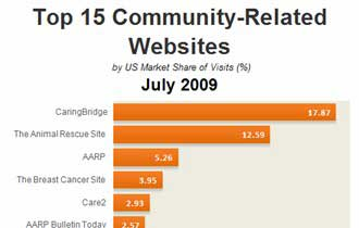 Top 15 Community-Related Websites, July 2009