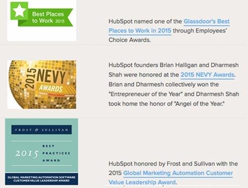 Hubspot's award badges and descriptions