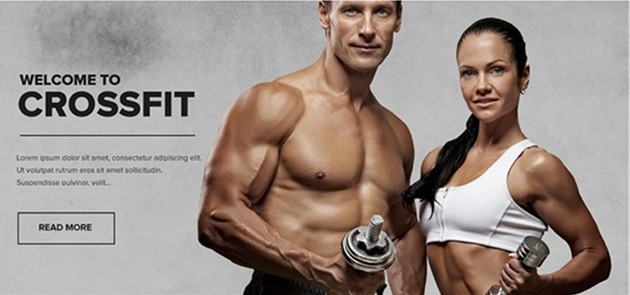 muscular man and woman in crossfit advertisement