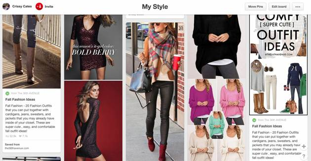 Pinterest fashion board screenshot
