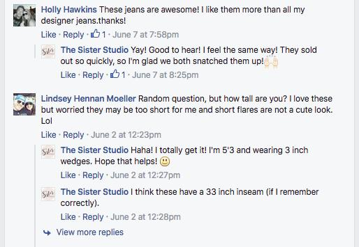 Screenshot of the Sister Studio responding to customers on Facebook