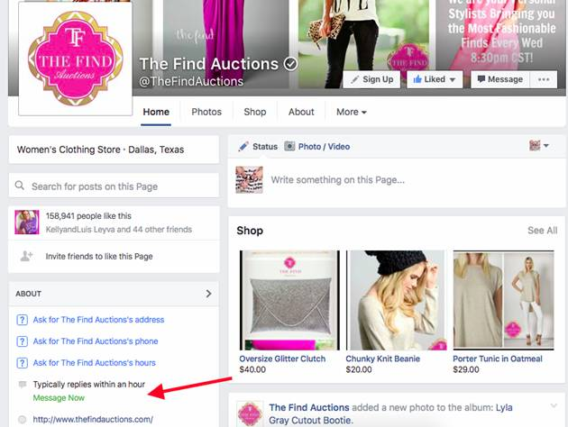 Screenshot example of Facebook displaying response speed on a business page