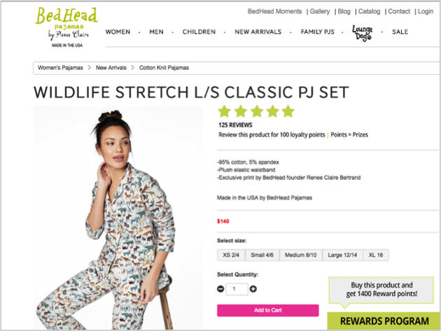 Bed Head pajamas product page with rewards link