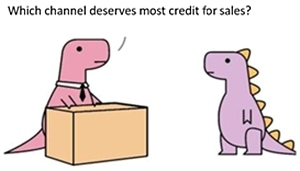 two dinosaurs at work, one asking which channel deserves sales credit