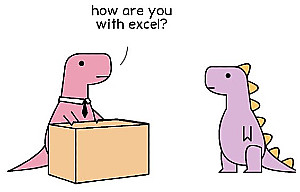 two dinosaurs at work, one asking the other about excel