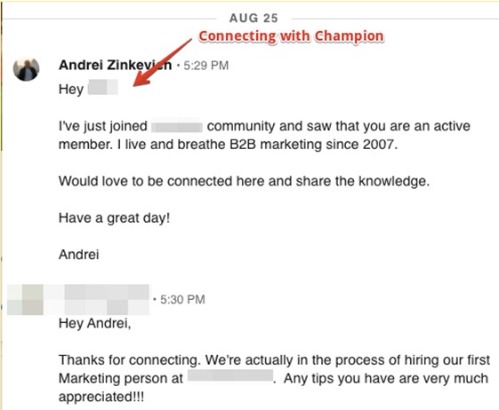 LinkedIn connection example