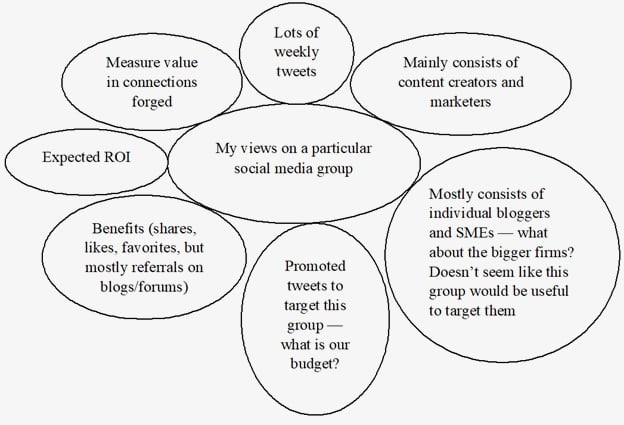 Map of subjective views of an analyst about a social media group