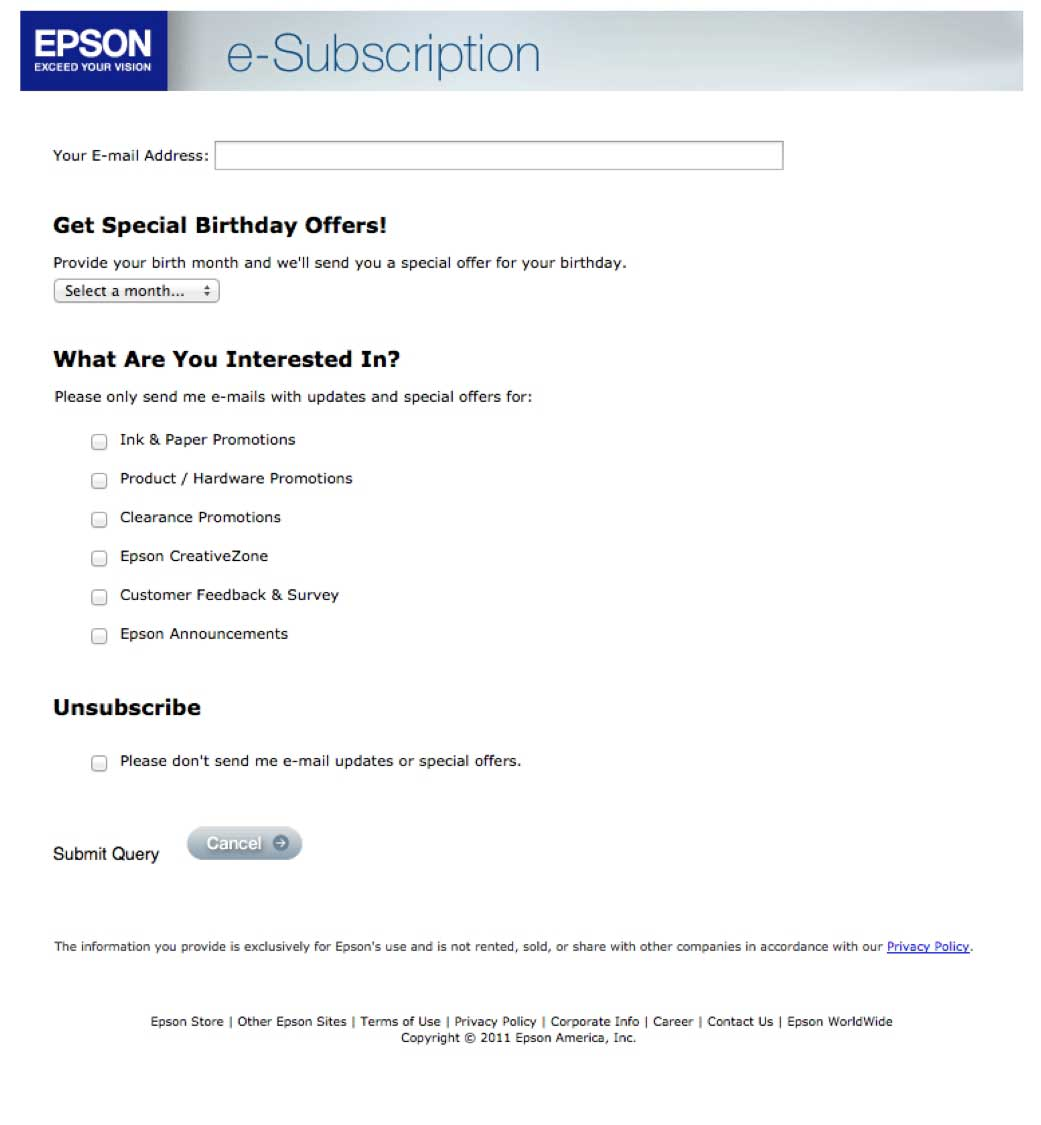 sample email unsub form