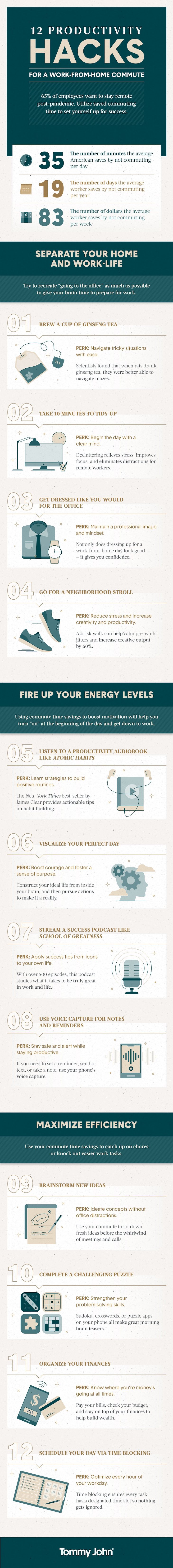 12 work from home productivity hacks infographic