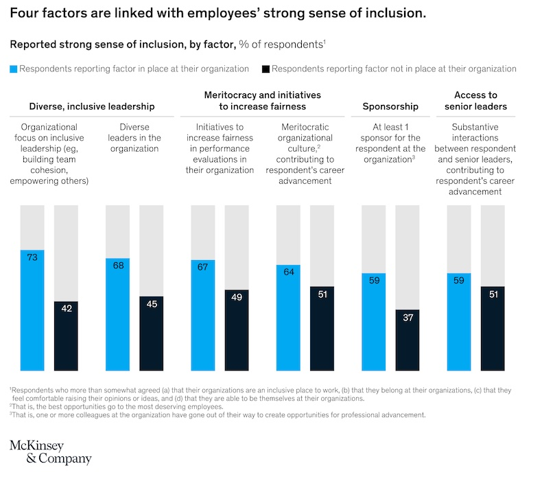 Inclusion in the Workplace Survey 2019, Factors Associated with Feelings of Inclusion