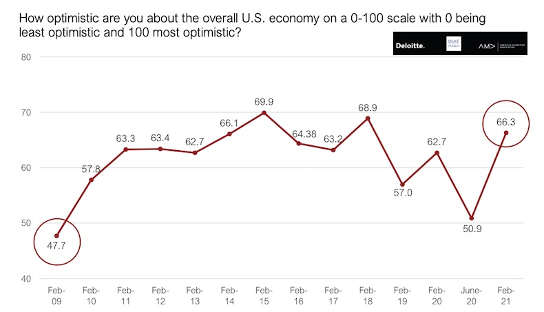 survey of how optimistic senior marketers are about the US economy