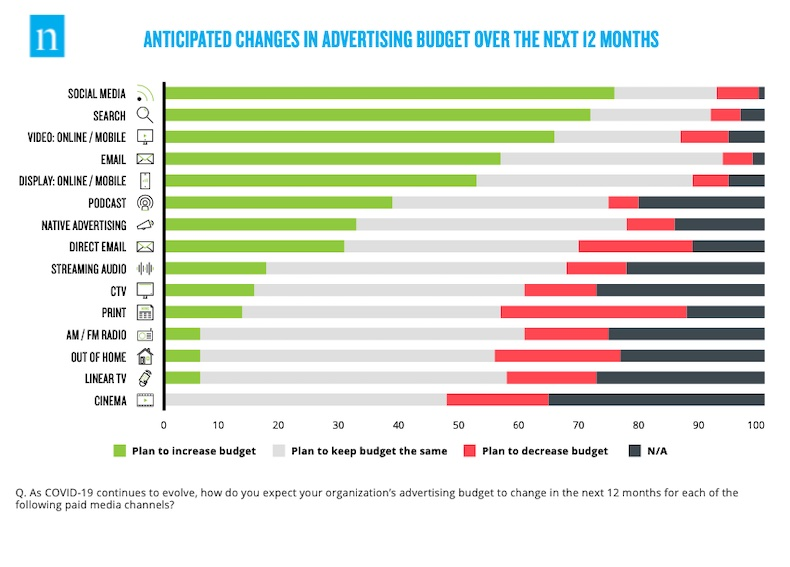 Advertising budget changes in the next 12 months